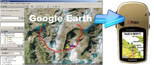 google earth e il navigatore gps